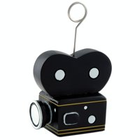 Pack of 6 Black Hollywood Film Camera Photo or Balloon Holder Party Decorations 6 oz