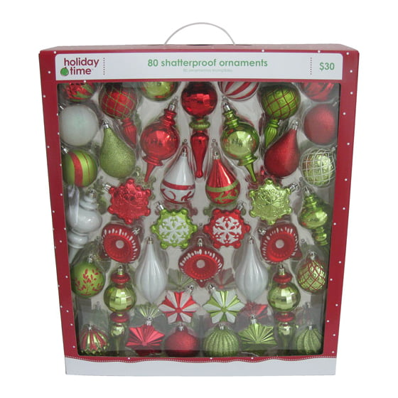 holiday time red white and light green shatterproof christmas ornaments set of 80 walmartcom - Christmas Decoration Sets
