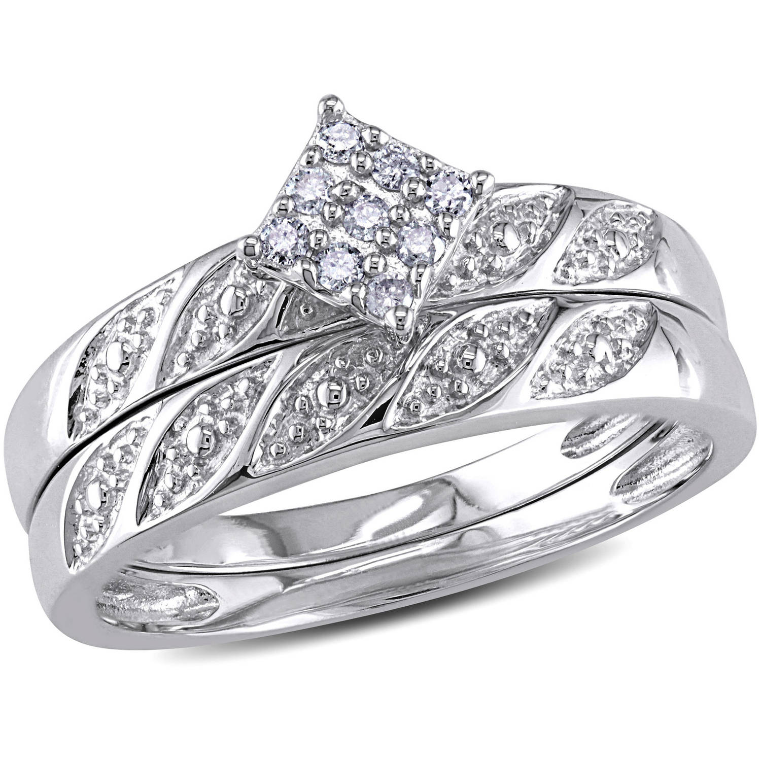 Miabella Diamond Accent Sterling Silver Bridal Ring Set Walmart