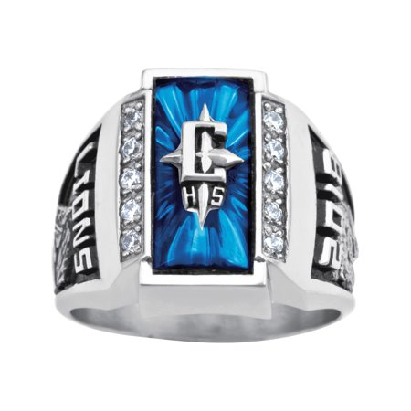 Personalized Men's Crest Cubic Zirconia Side Panel Class Ring in Valadium, Silver Plus, Yellow and White Gold