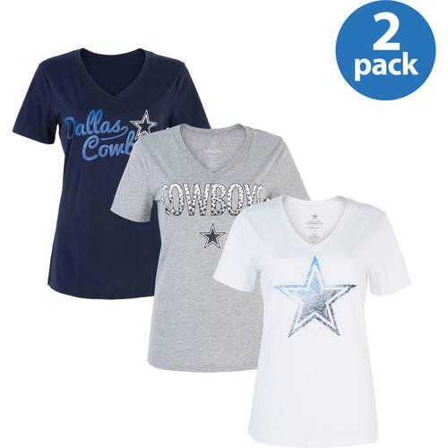NFL Dallas Cowboys Women's  V-Neck Tee, 2 Pack, Your Choice