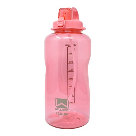 128oz Sports Water Bottle Pink w/Straw Lid, Portable Handle 1 gallon container