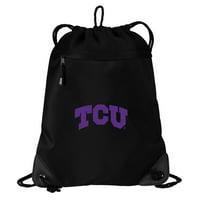 Texas Christian University Drawstring Bag TWO SECTION TCU Cinch Pack Backpack - Unique Mesh & Microfiber
