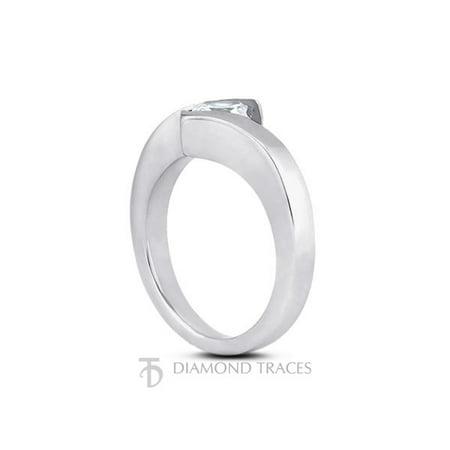 1.09ct J-SI3 Ideal Cut Princess Certified Diamond 14k Gold Twist Band Ring (Certified Diamond Band Ring)
