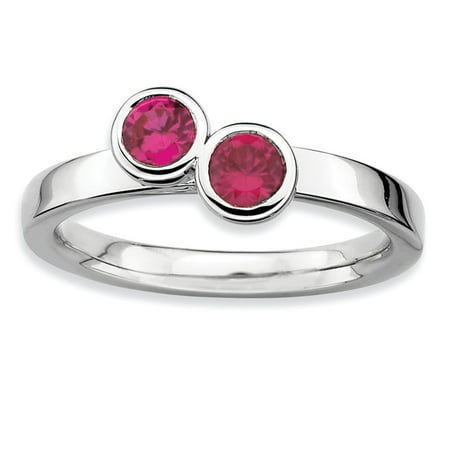 Roy Rose Jewelry Sterling Silver Stackable Expressions Double Round Created Ruby Ring Size