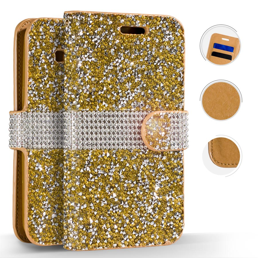 Samsung Galaxy S8 / S8 Plus Case, Zizo Diamond Bling Cover - Wallet Case Pouch