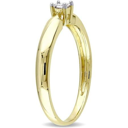Miabella 1/10 Carat T.W. Princess Cut Diamond Solitaire Ring in 10kt Yellow Gold