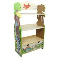 Fantasy Fields Dinosaur Kingdom Kids Bookshelf, 3-Tier with Storage Drawer