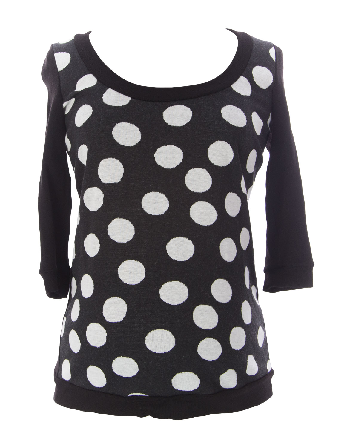 JULES & JIM Maternity Women's Polka Dot Sweater, Medium, Black/White