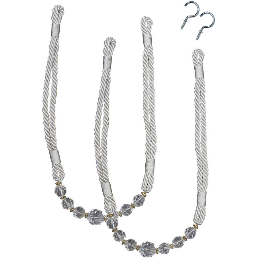 Bali Crystal Rope Curtain Tieback, Available in Multiple Colors