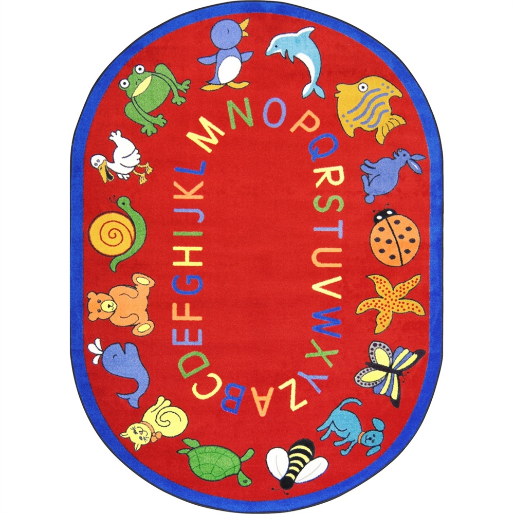 """Joy Carpets Kid Essentials - Early Childhood ABC Animals, 7'8"""" x 10'9"""" Oval, Red"""