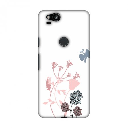 - Google Pixel 2 Case - Flowers and butterfly- White, Hard Plastic Back Cover, Slim Profile Cute Printed Designer Snap on Case with Screen Cleaning Kit