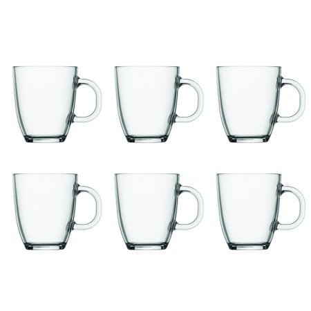 Bistro Coffee Mug 6-Pack, 12 Oz., Clear - Clear Mugs