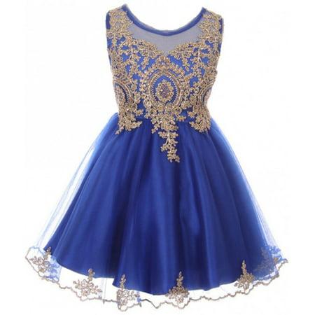 Little Girls Dress Sparkle Rhinestones Holiday Christmas Party Flower Girl Dress Royal Size 4 (M10BK49)