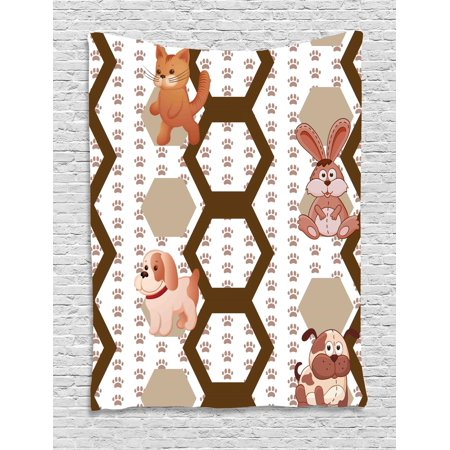 Animals Tapestry, Cartoon Style Cat Dog and Rabbit with Abstract Hexagons on Paw Print Background, Wall Hanging for Bedroom Living Room Dorm Decor, Multicolor, by Ambesonne