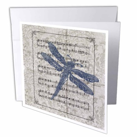 3dRose Vintage Blue Dragonfly, Greeting Cards, 6 x 6 inches, set of 12