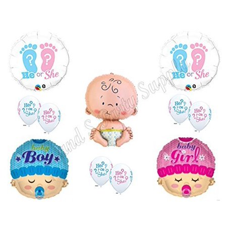 NEW!! GENDER REVEAL He/She? BOY GIRL BABY SHOWER Balloons Decorations Supplies (Gender Reveal Decorations)