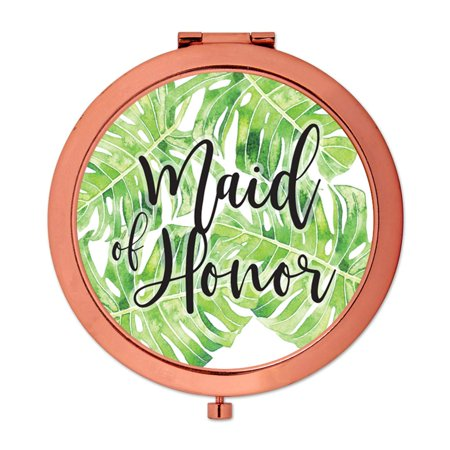 Andaz Press Compact Mirror Maid of Honor Wedding Gift, Rose Gold, Tropical Monstera Palm Leaves, 1-Pack - Leaves Of Gold
