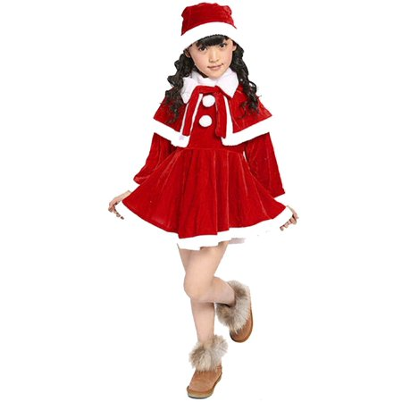 Outtop Toddler Kids Baby Girls Christmas Clothes Costume Party Dresses+Shawl+Hat Outfit