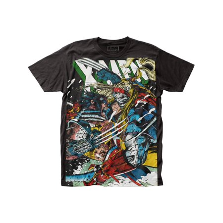 Adult X Men (X-Men Marvel Comics Wolverine vs Omega Adult Big Print Subway T-Shirt)