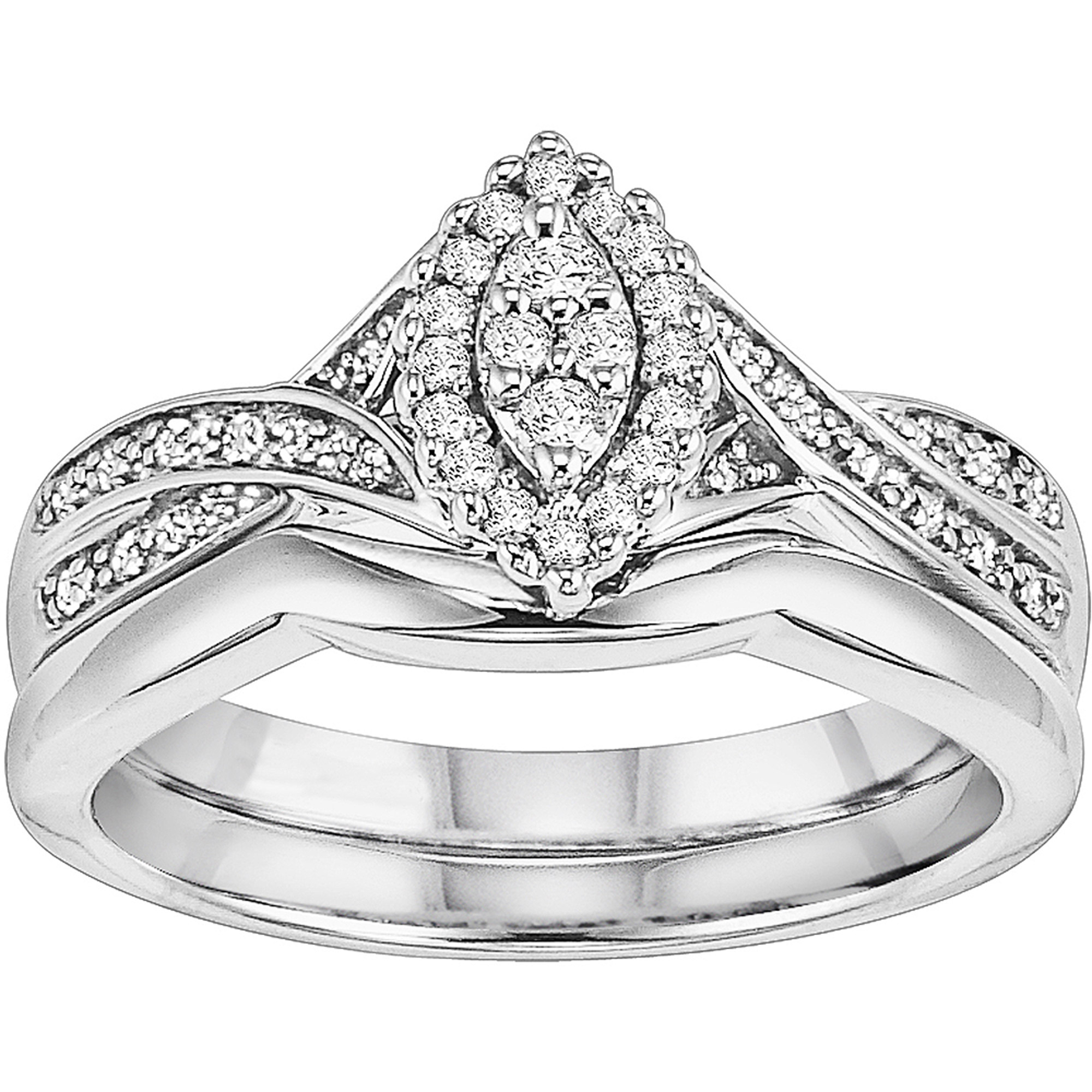 1/4 CT. T.W. Diamond Marquise Bridal Set in Sterling Silver