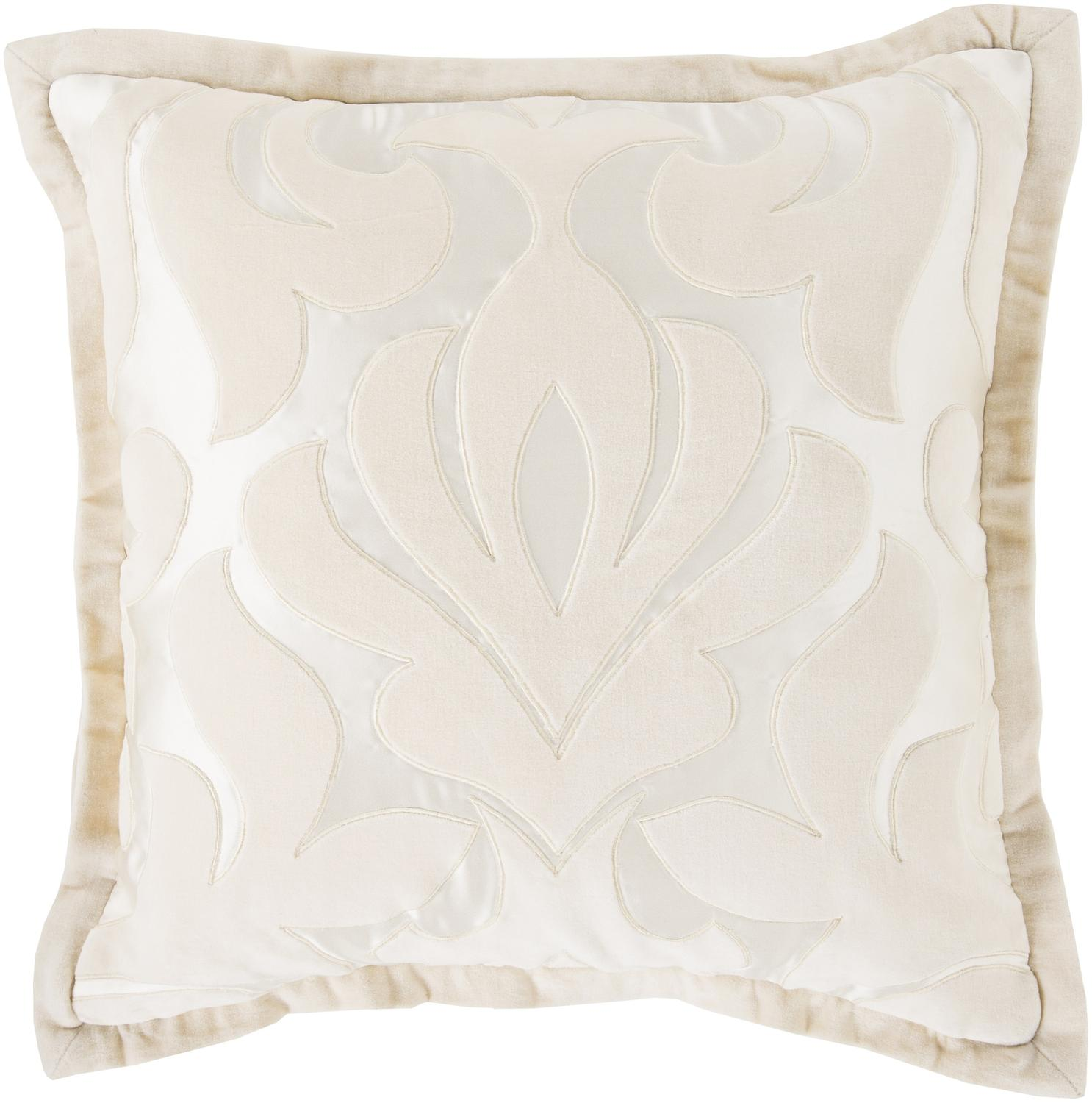 "22"" Pastel Pink and Cream White Royal Damask Decorative Throw Pillow"