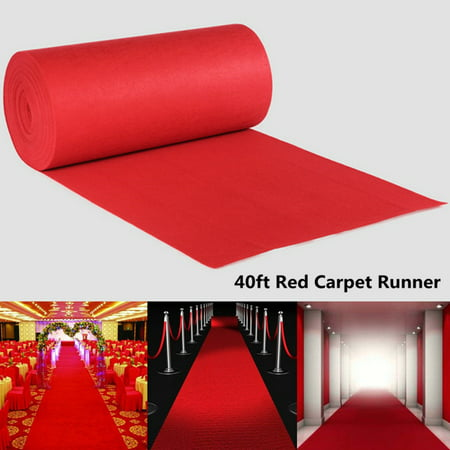 Rent A Red Carpet (40Ft Red Aisle Hallway Runner Rug 40ftX3ft Large Red VIP Carpet Runner Wedding Aisle Floor Runner Best Occasion Aisle Runner Hollywood Party)