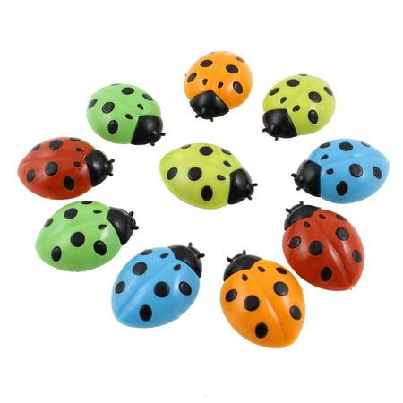 Unique Bargains 10 in 1 Ladybug Shaped Plastic Cover Washing Machine Fridge Refrigerator Magnets