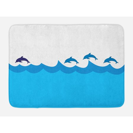 Sea Animals Bath Mat, Lead and Three Dolphins Shadow on Waves Oceanlife Maritime Theme Image, Non-Slip Plush Mat Bathroom Kitchen Laundry Room Decor, 29.5 X 17.5 Inches, Blue Turqouise, Ambesonne