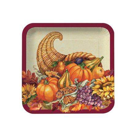 - Creative Converting 8 Count Square Paper Dinner Plates, 9 in., Fall Plenty