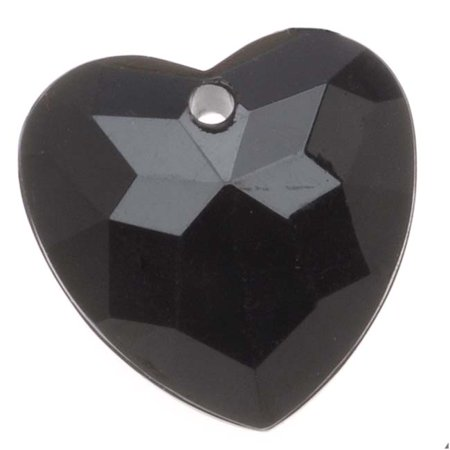 Vintage Lucite Plastic Faceted Heart Pendant Bead Jet 17.5x18mm (6)