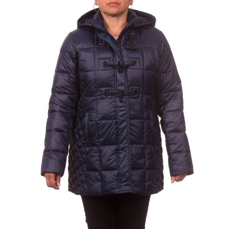 (Women's Plus Size Down Blend Hooded Toggle Coat)