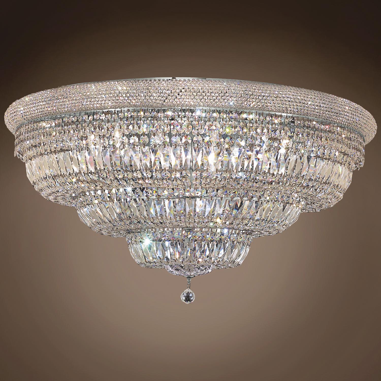 "Bagel Design 30 Light 42"" Chrome Flush Mount With Clear Swarovski Crystals"