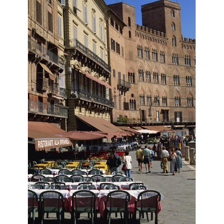 Street Scene of Cafes on the Piazza Del Campo in Siena, UNESCO World Heritage Site, Tuscany, Italy Print Wall Art By Groenendijk (Best Street Art In The World)