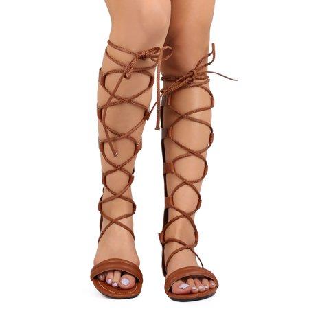 99c3e545c55 Bumper - Bumper EA21 Women Leatherette Open Toe Knee High Rope Gladiator  Sandal - Walmart.com