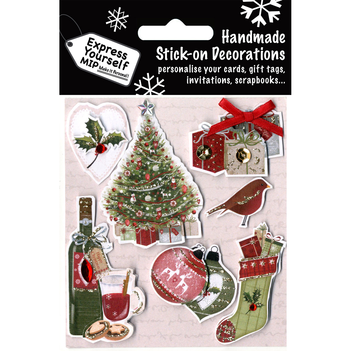 Express Yourself MIP 3D Stickers-Tree, Wine, Stocking & Ornaments