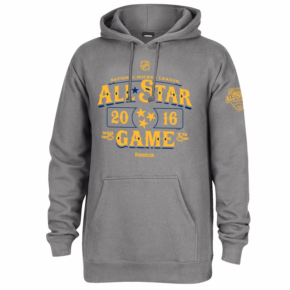 All Star Game NHL Reebok Grey 2016 NHL All Star Game Nashville TN Pullover Hoodie For Men by Reebok