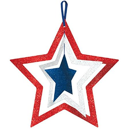 Patriotic Fourth of July Party Spinning Glittered Stars Decoration, Fiberboard, 14