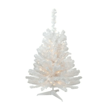 3' Pre-Lit Snow White Artificial Christmas Tree - Clear Lights ()