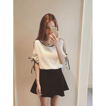 Short Sleeve Bow Tie - Fashion Korean Loose Short Sleeve Bow Tie Lace-up Sleeve Leakage Shoulder Chiffon Shirt Female Summer O-neck Elegant Tops