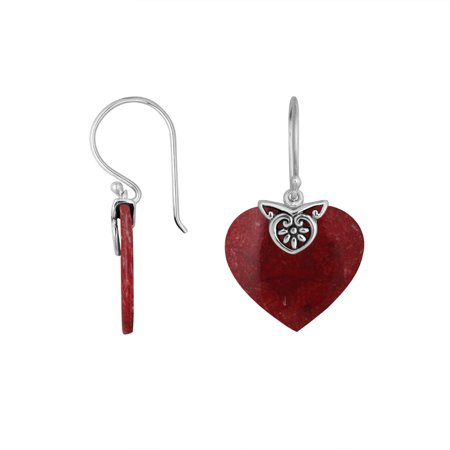 Coral Heart (AE-6235-CR Sterling Silver Heart Shape Earring With)