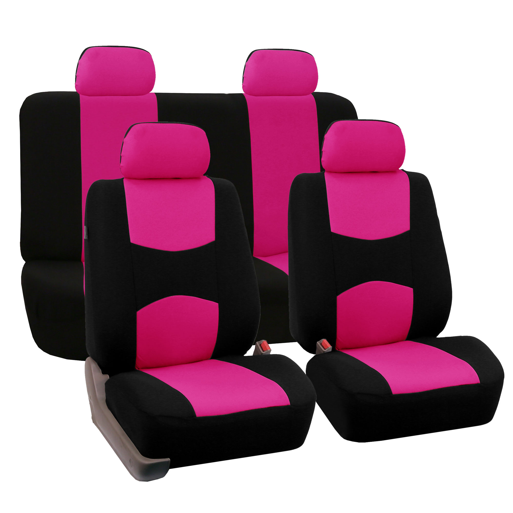 Car Seat Covers Set For Auto 4 Headrests Black Pink With Carpet Floor Mat