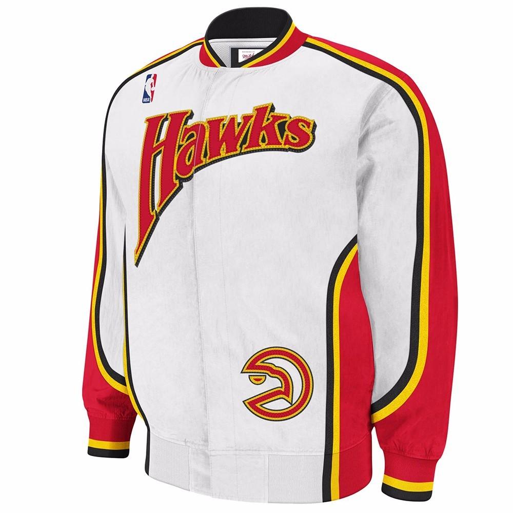 Atlanta Hawks NBA Mitchell & Ness White Authentic Hardwood Classics 1992-93 Vintage Warm Up Jacket For Men by Mitchell & Ness