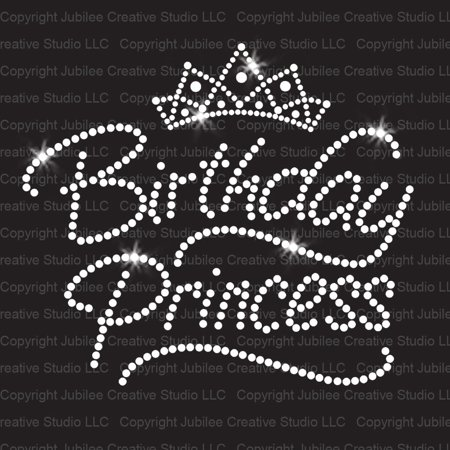 Birthday Princess Iron On Rhinestone Transfer - Halloween Rhinestone Transfers