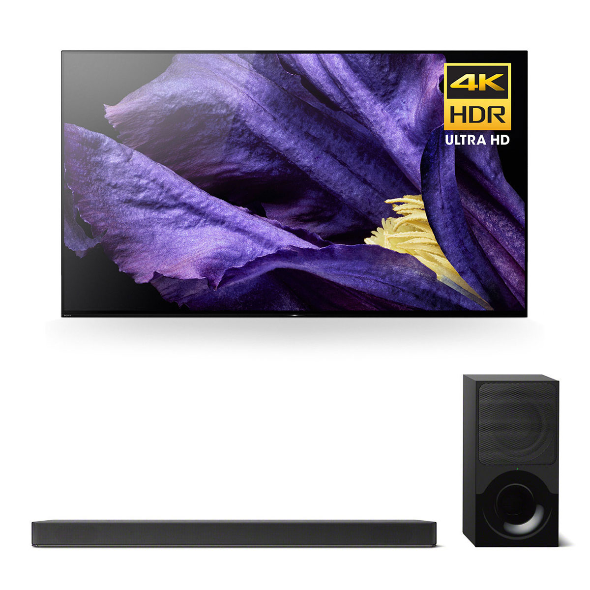 "Sony XBR-55A9F 55"" MASTER Series BRAVIA OLED 4K HDR TV and HT-X9000F 2.1-Channel Dolby Atmos Soundbar with Subwoofer"