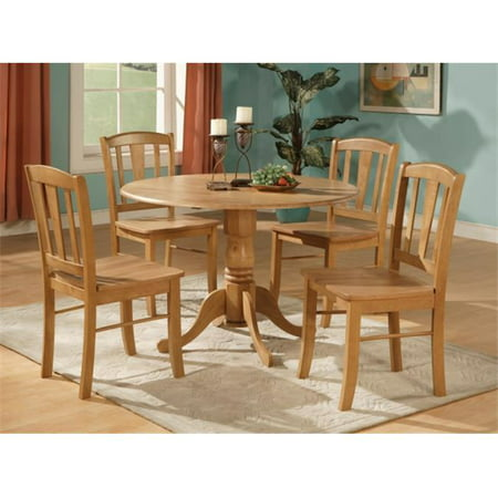 East West Furniture DLIN5-OAK-W 5 Piece Small Kitchen Table and Chairs  Set-Round Table and 4 Dinette Chairs Chairs