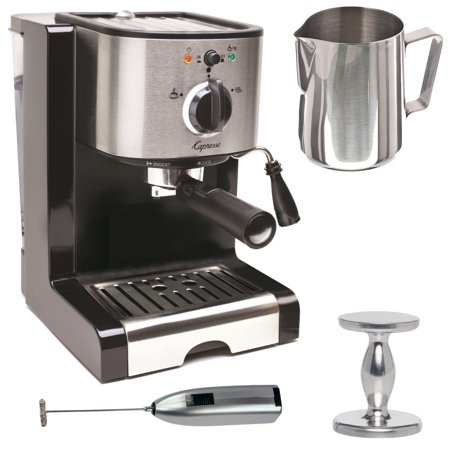 Capresso EC100 Pump Espresso and Cappuccino Machine Bundle with Knox Milk Frother, Frothing Pitcher and Espresso - Froth Maker
