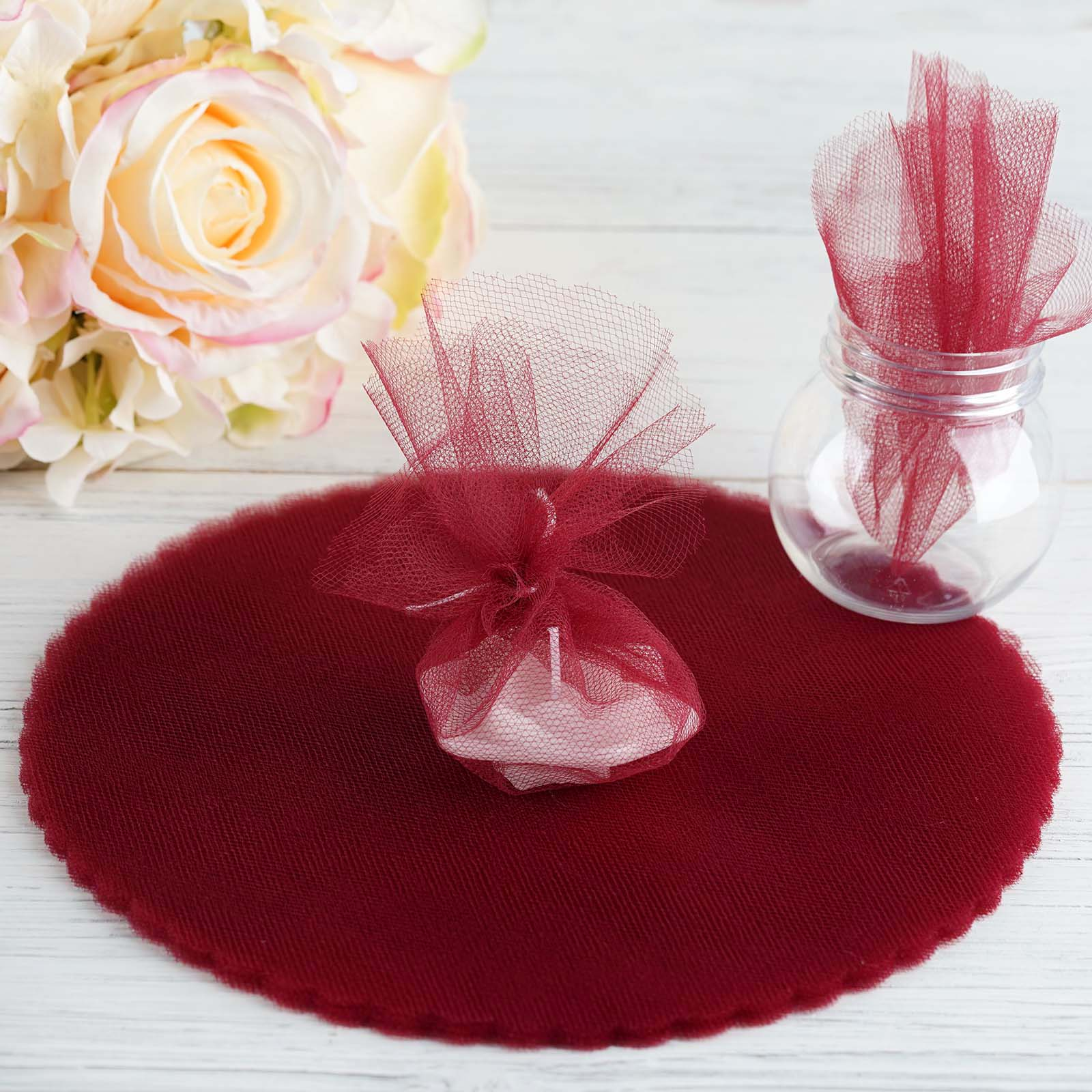 """25 pcs 12/"""" wide Pink Tulle Circles Wedding Party Event Favors Crafts Supplies"""