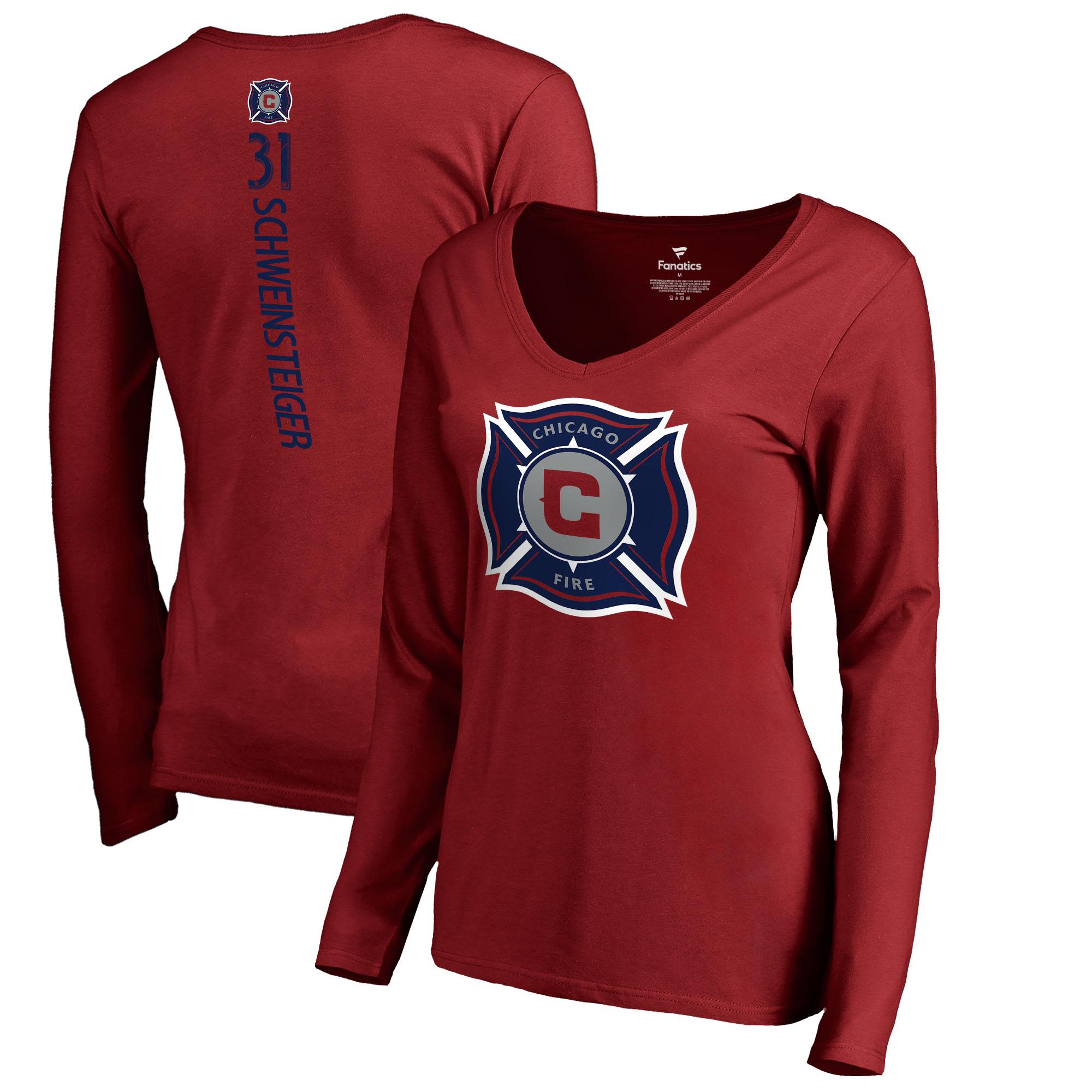 Bastian Schweinsteiger Chicago Fire Fanatics Branded Women's Backer Name & Number Long Sleeve V-Neck T-Shirt - Red