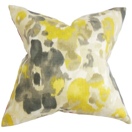 The Pillow Collection Delyne Floral Euro Sham Yellow
